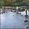 Alyson on stepping stones